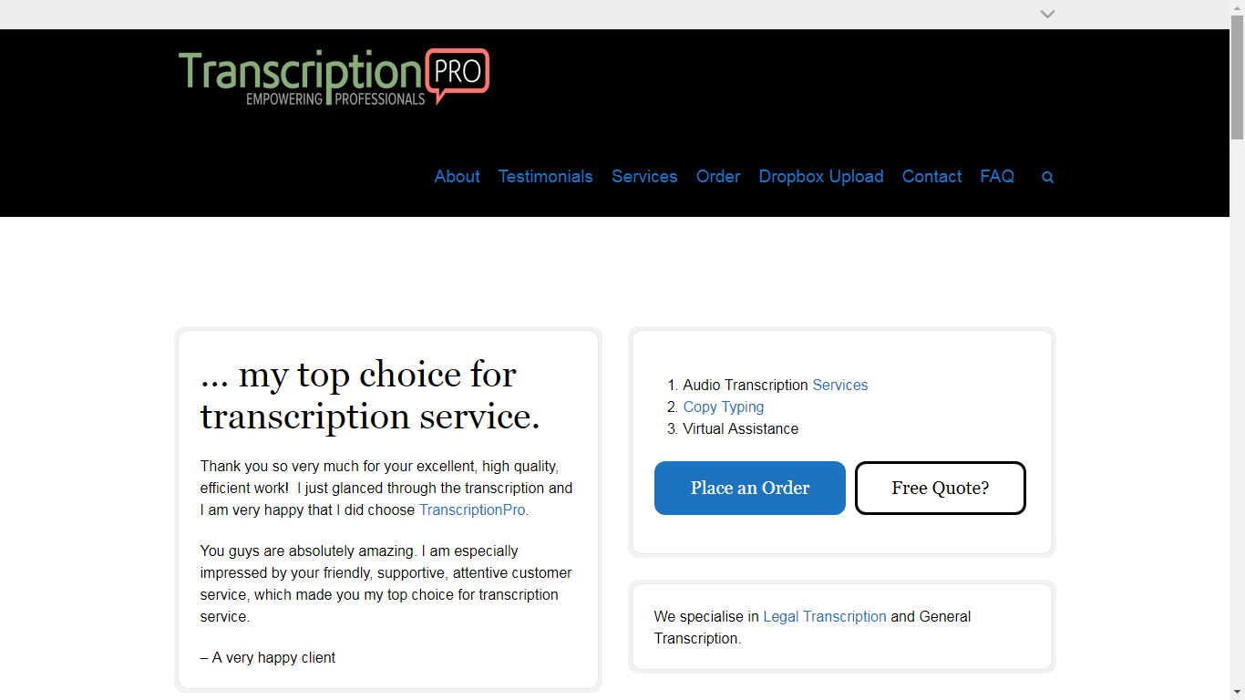 transcriptionpro.net review